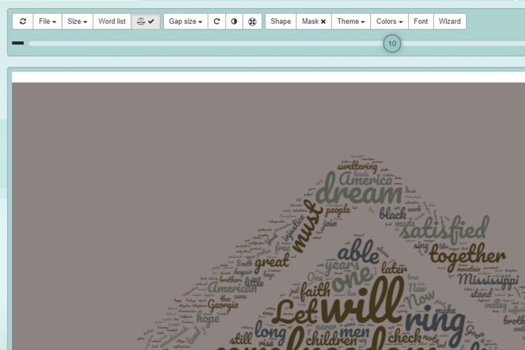 WordClouds dashboard