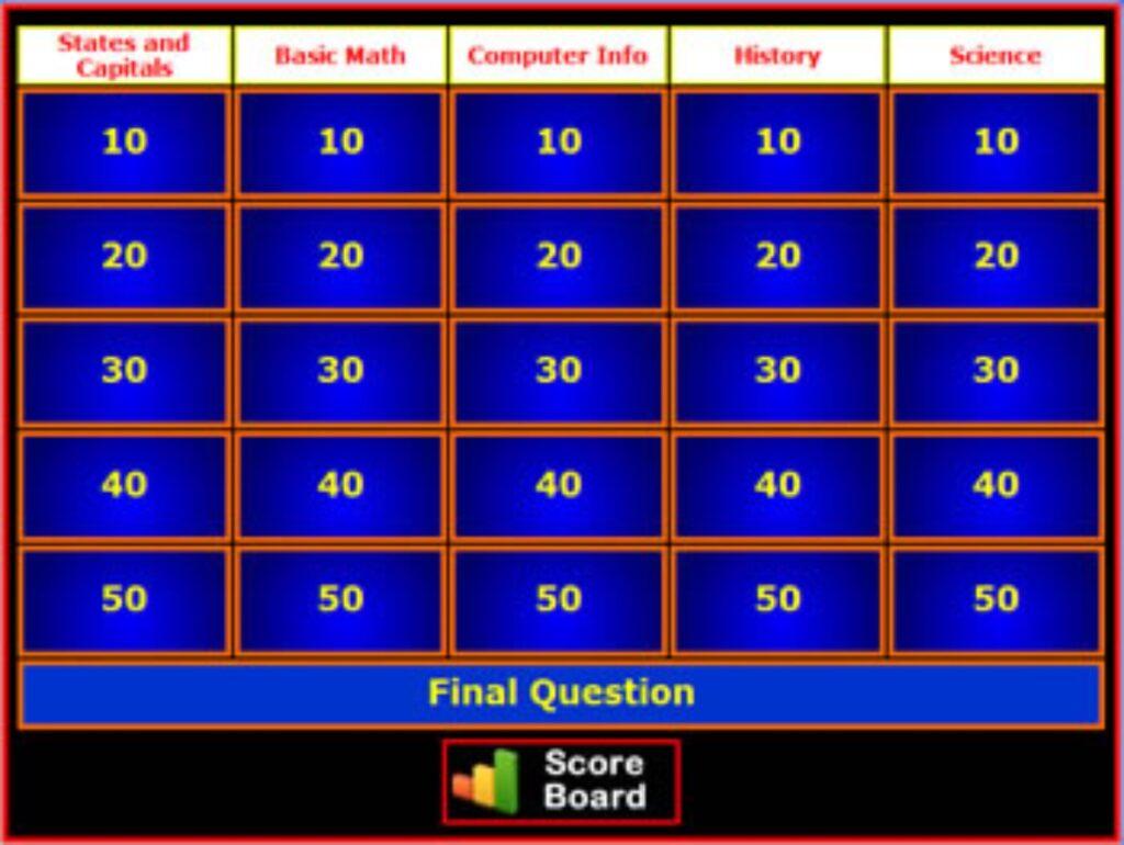 Super Teacher Tools Jeopardy Creator