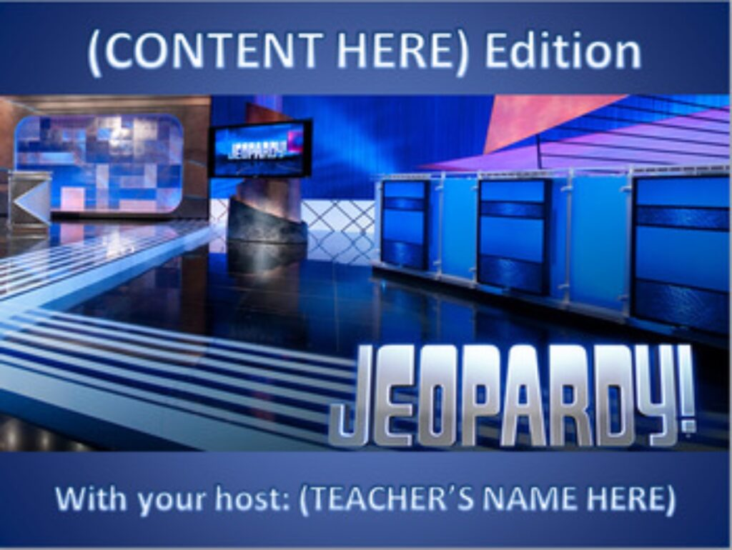 Jeopardy Game Maker from Speight Ed