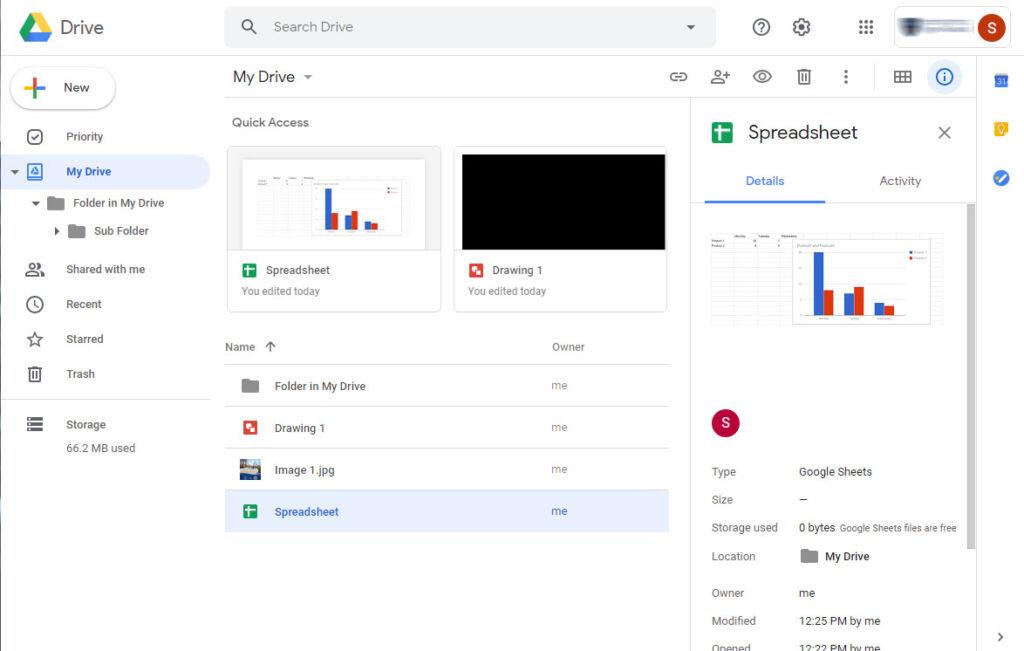 Google Drive Dashboard